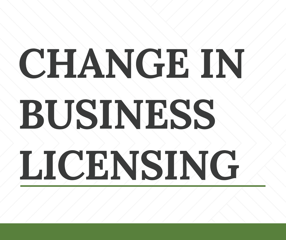 CHANGE IN BUSINESS LICENSE